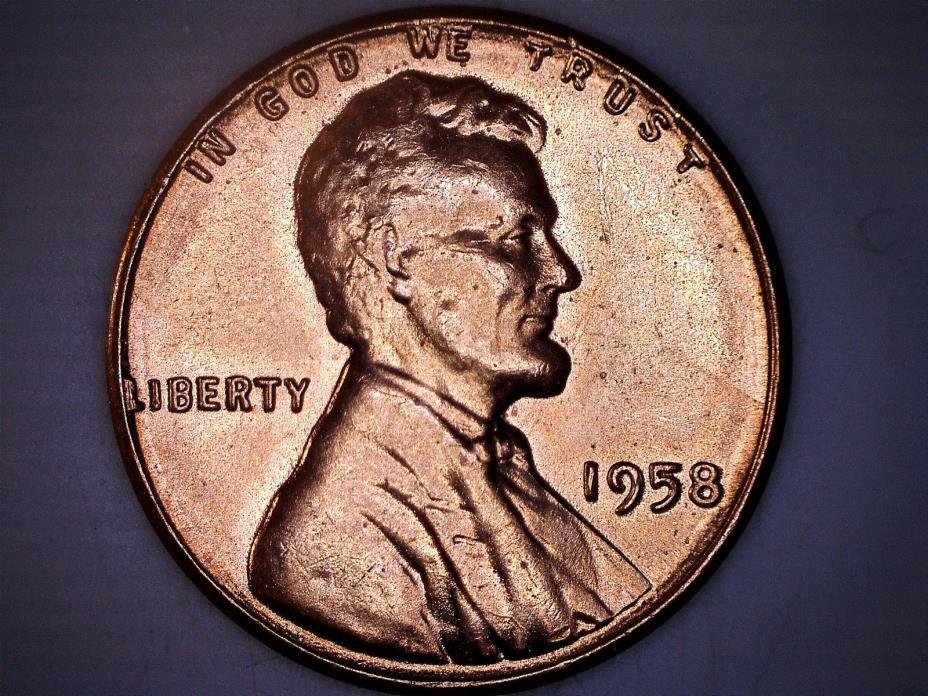 1958 LINCOLN WHEAT CENT Penny W/ Doubling on Obverse - Mint Error - From BU Roll