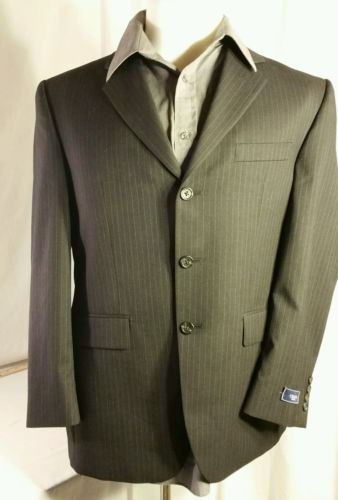 CHAPS Mens Sport Coat 40S Wool Lined 3 button Black Pinstripe Jacket Blazer Suit
