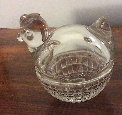 HEN CHICKEN SHAPED 2-PIECE TRINKET DISH  ANCHOR HOCKING USA  HEAVY CLEAR GLASS