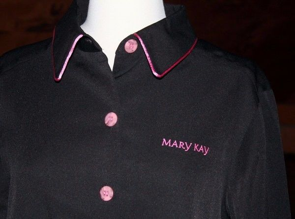 Mary Kay Consultant Beauty Coat Smock Black Hot Pink Logo and Trim size Medium