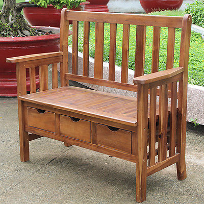 Breakwater Bay Sandy Point 3 Drawer Wood Garden Bench