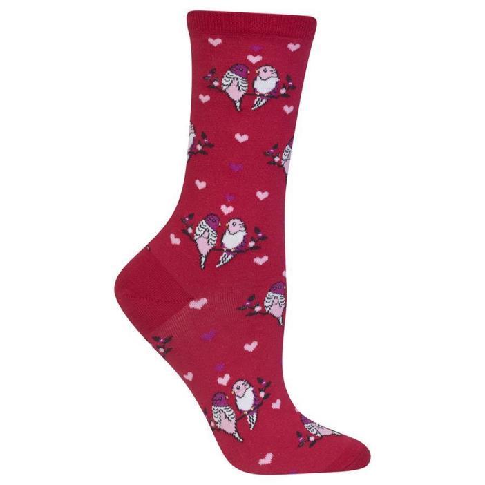 Trouser Crew Socks Red BG Love Birds NWT Women's Sock Size 9-11 HOTSOX HEARTS