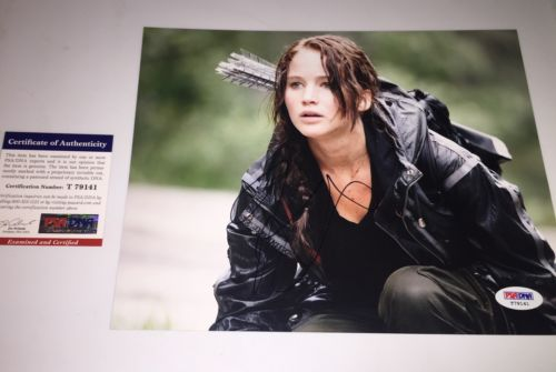Jennifer Lawrence signed 8x10 Hunger Games Passengers PSA DNA authentic Proof