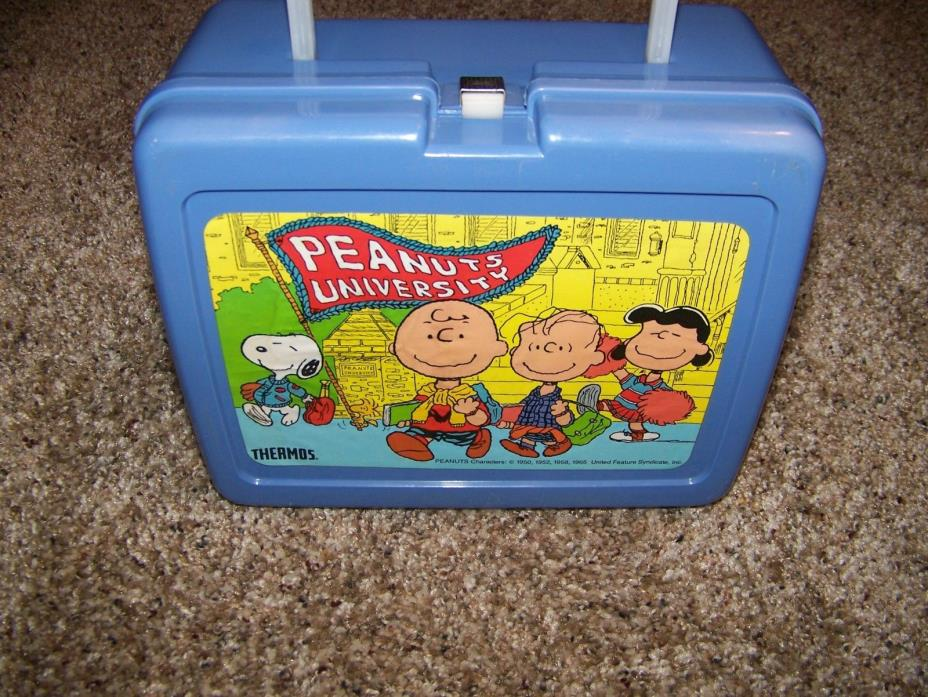 Peanuts Lunch Box Vintage 1965 Peanuts University Thermos included