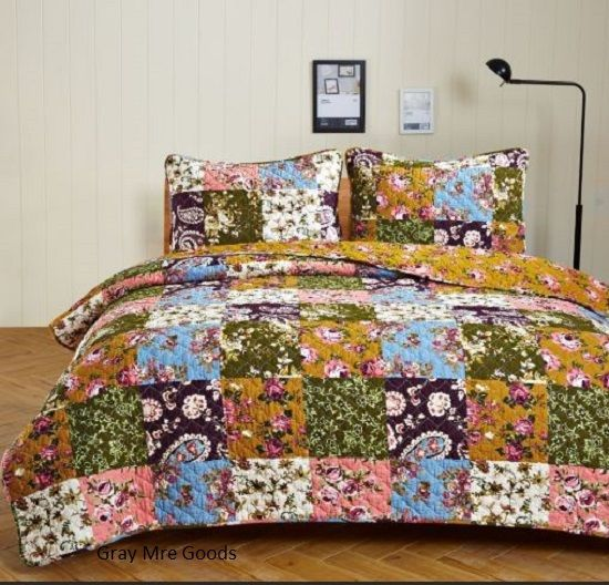Antique Bloom Quilt Set With Shams Bedding Sets Bed in Bag Floral Paisley Cotton