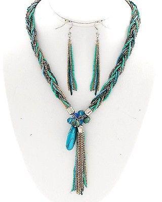 Turquoise Stone Beads Necklace & Earring Set