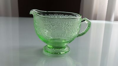 Vintage Green Depression Glass Creamer - Florentine