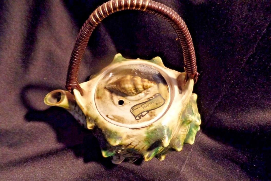 Vintage japan seashell teapot single serve souvenir seaside ore
