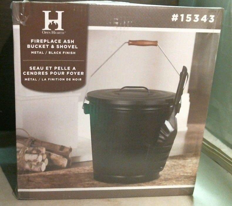 Panacea 15343 Fireplace Ash Bucket With Shovel Metal / Black Finish FREE SHIP