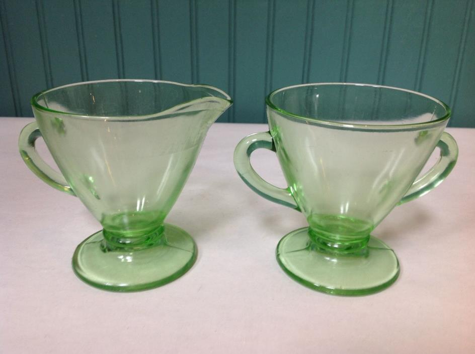 SET OF (2) GREEN DEPRESSION VASELINE URANIUM GLASS CREAM AND SUGAR