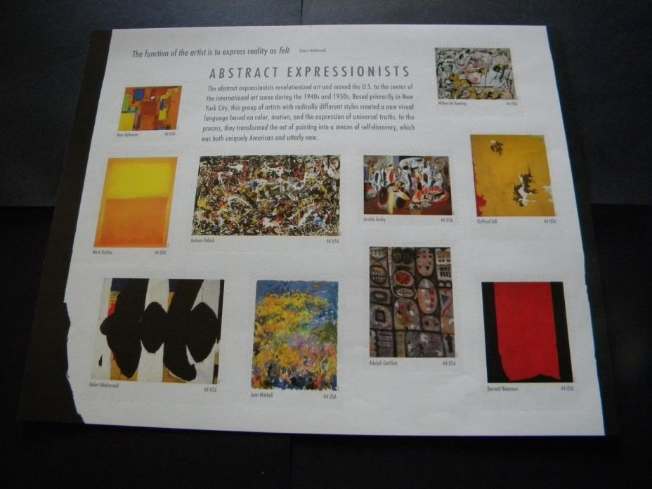 U.S. MINT STAMP SHEET ABSTRACT EXPRESSIONISTS