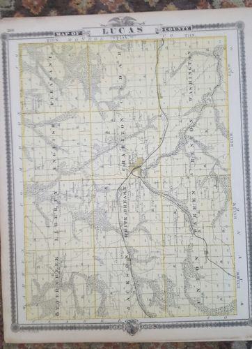 Lucas Monroe County Iowa 1875 Antique Atlas Map