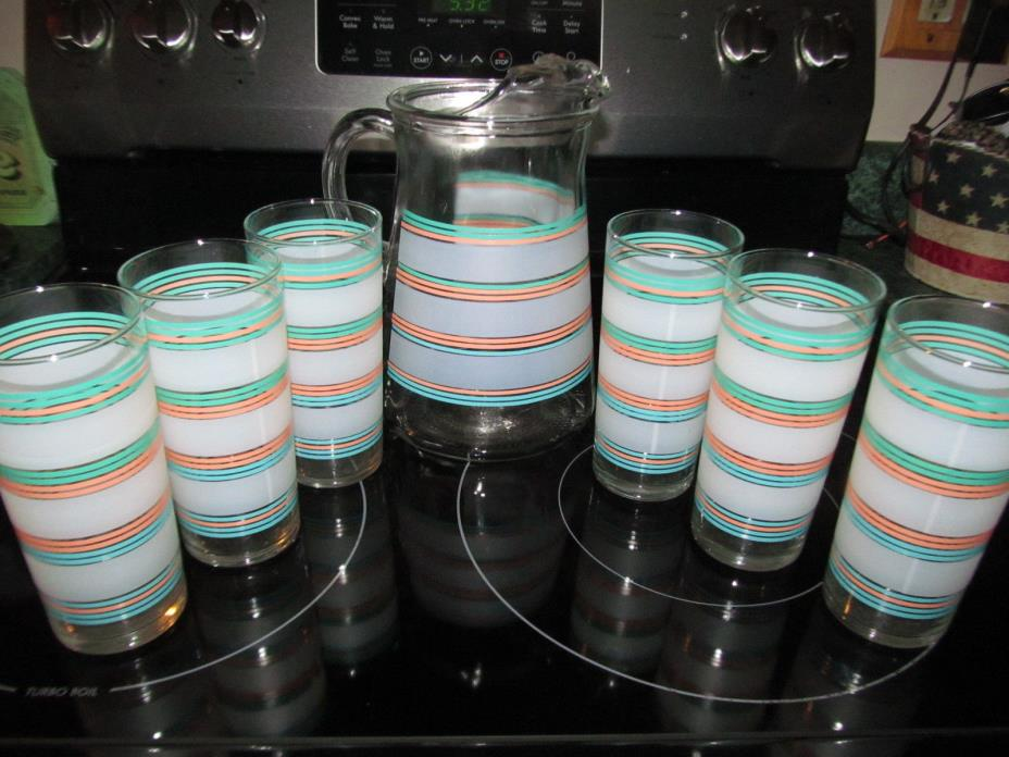 Vintage Glass Frosted Striped Glasses & Ice Tea Pitcher w/ Ice Lip 7pcs