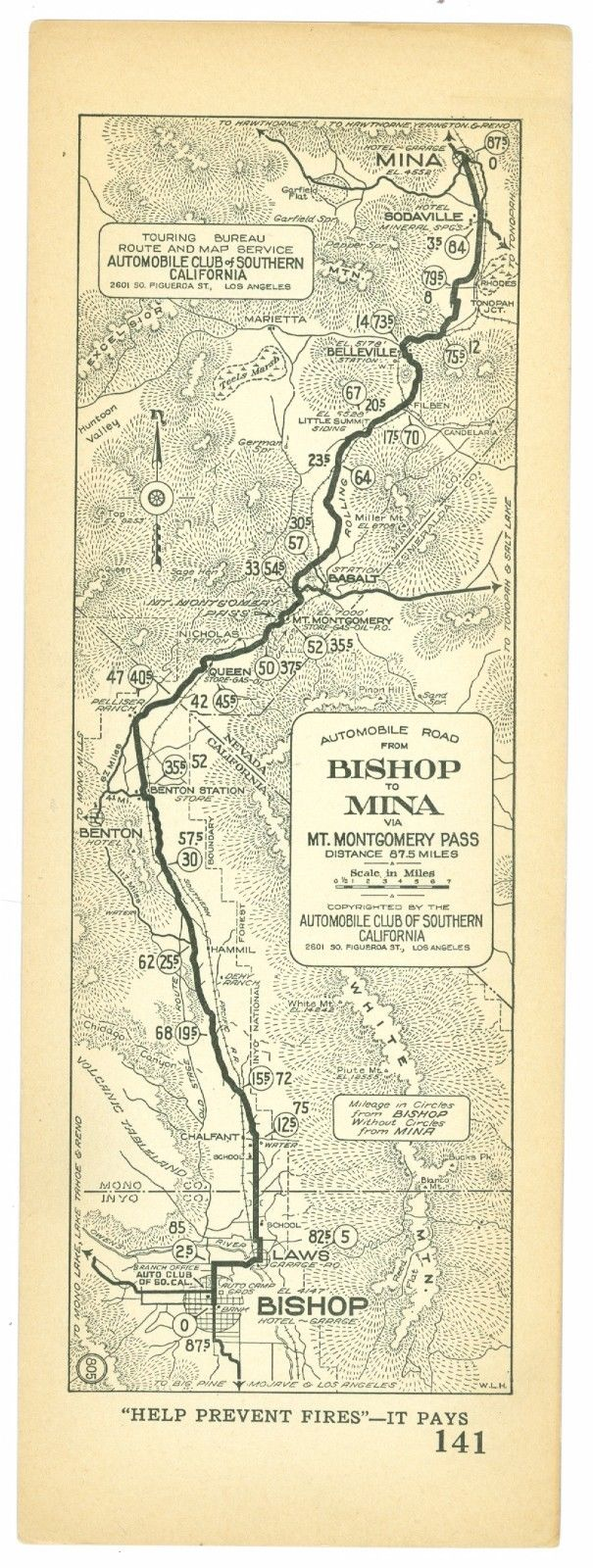 1920s Bishop to Mina, California, AAA Automobile Club of Southern California Map