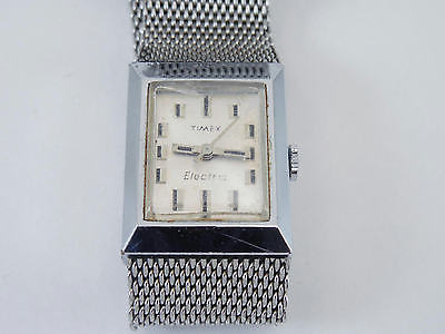 Vintage Ladies Silver Timex Electric Wristwatch Watch Mesh Band 4 Parts Repair