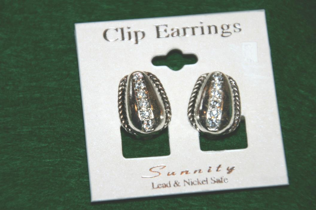 NWT Costume silver and rhinestone clip earrings in tear drop shape
