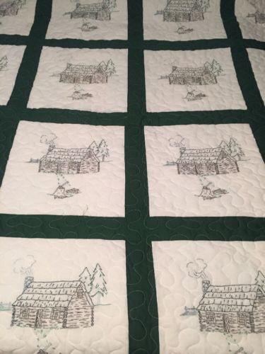 Hand Embroidered Queen Size Log Cabin Quilt