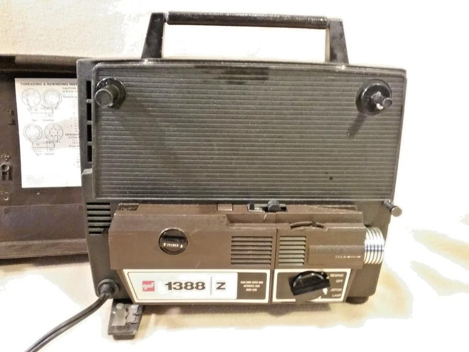 GAF 1388 Z Dual 8mm Super 8mm Automatic Load Projector w/ Zoom Lens