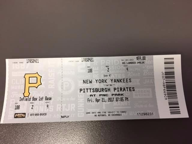 Pittsburgh Pirates New York Yankees MINT Ticket 4/21/17 2017 MLB Stub