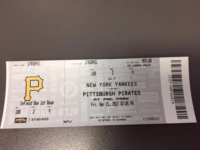 Pittsburgh Pirates New York Yankees MINT Ticket 4/21/17 2017 MLB Stub
