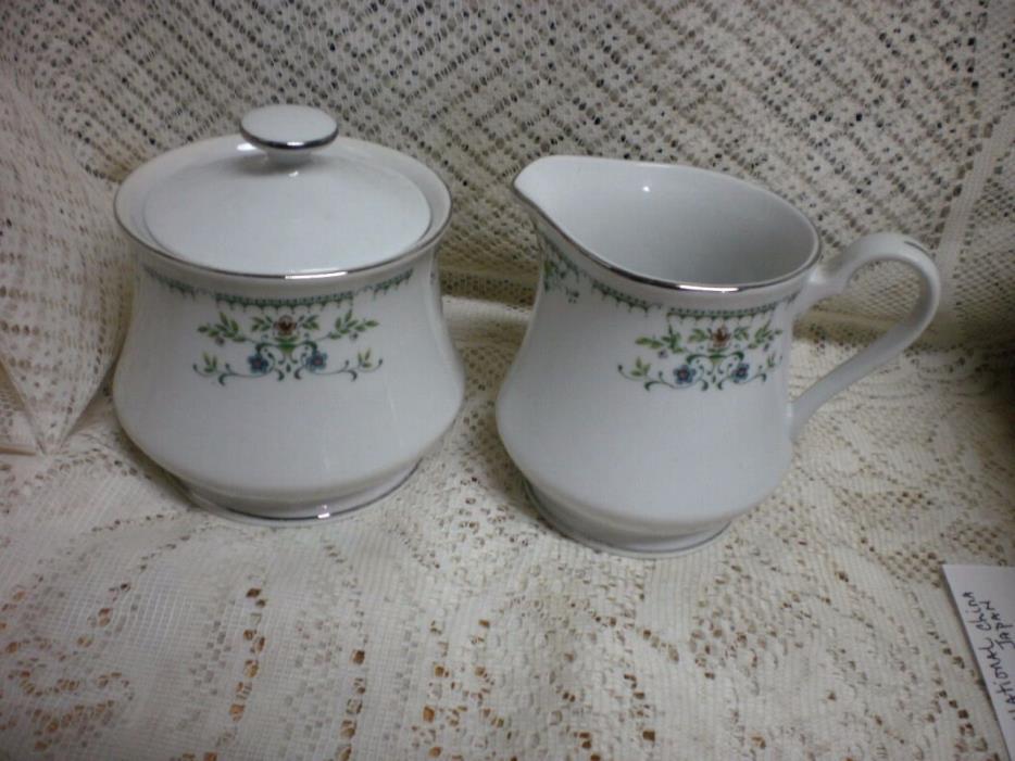 Vintage International China Cotillion Juliet Creamer & Sugar Bowl With Lid #3729