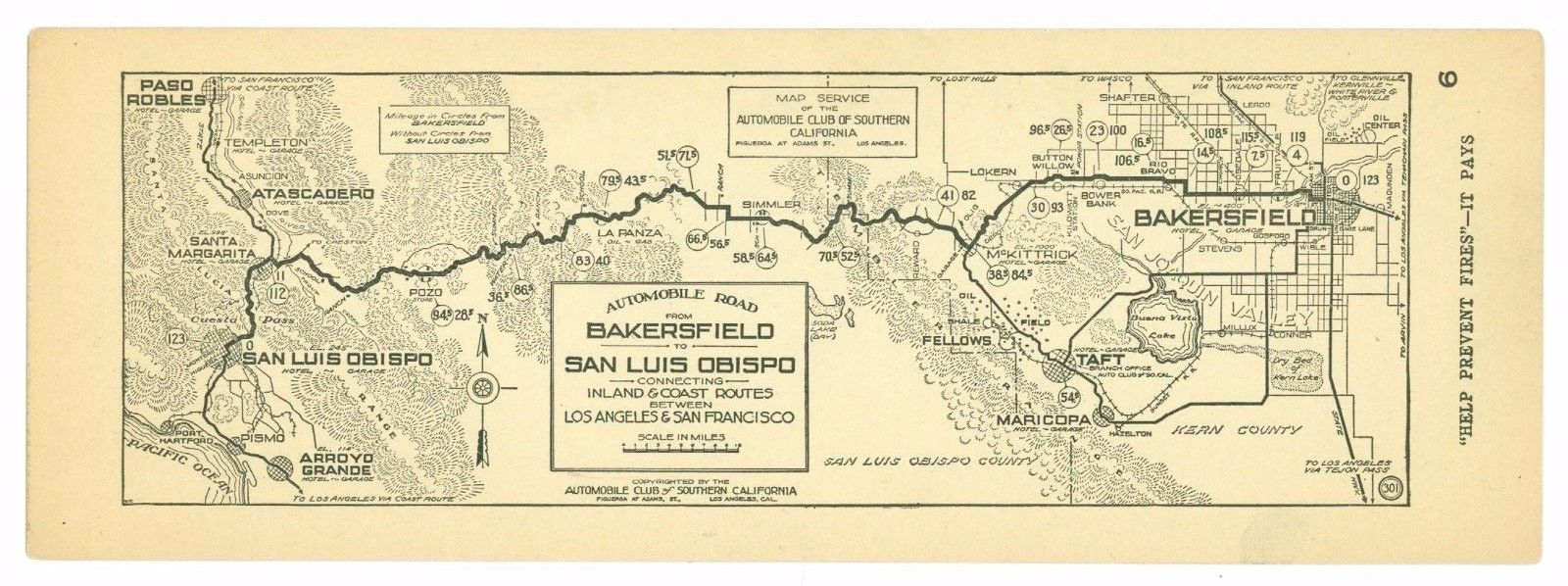 1920's Bakersfield to San Luis Obispo AAA Automobile Club of Southern Calif Map