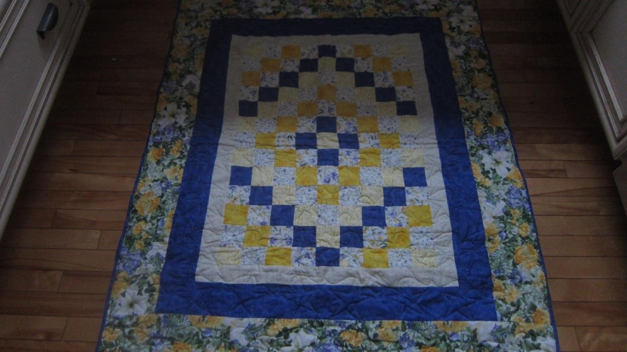 LOVELY HANDMADE REVERSIBLE PATCH QUILT BLUES YELLOW LAVENDER FLORAL 42X46
