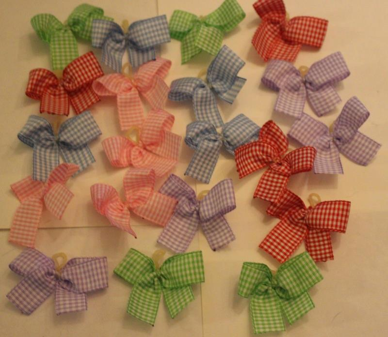 20 Small Gingham print Dog Bows Grooming Bows quality grosgrain ribbons USA NEW
