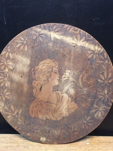 Antique Pyrography Woman Lady Round Wall Plaque Wood Burned Cheese Box Art