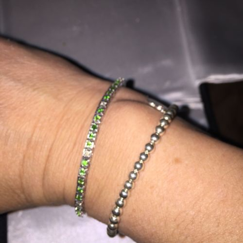 Tsavorite Diamond Tennis Bracelet 14k White Gold 7 Inches