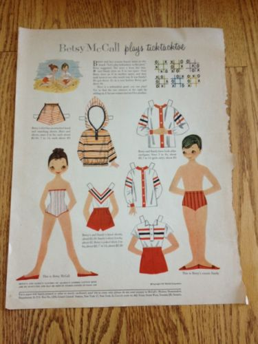 Vtg Betsy McCall Plays Tick Tack Toe Paper Doll Page 1957 Uncut Original