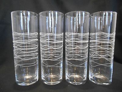 SET OF 4 UNIQUE STRING LIKE PRINT ICED TEA GLASSES