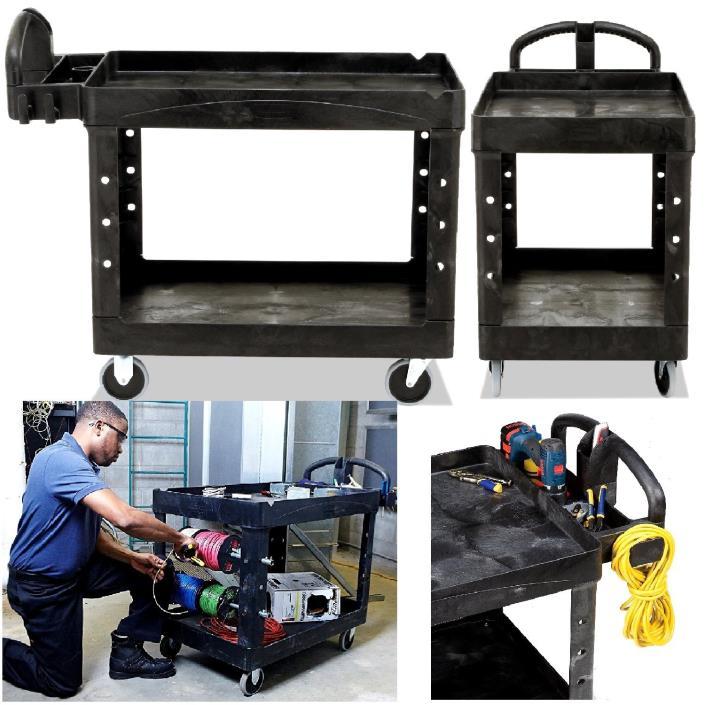 Utility Cart Service Shelf Rolling Storage Heavy Duty Hand Truck Commercial Set