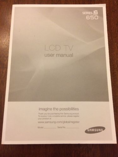 Samsung LCD TV User Manual Series 6 650 Instruction Booklet Book Help Guide