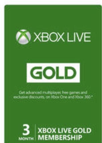 MICROSOFT XBOX LIVE 3 MONTHS GOLD MEMBERSHIP CARD