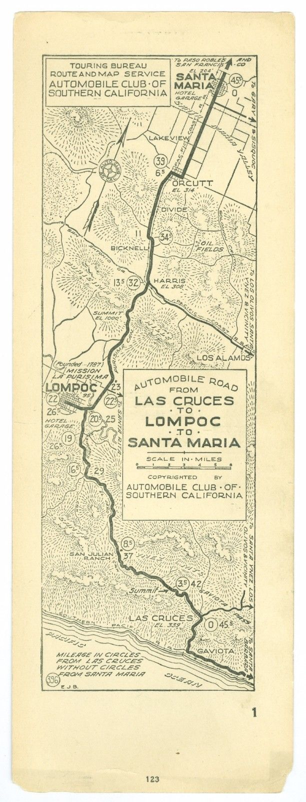 1920s Las Cruces, Lompoc, Santa Maria, AAA Automobile Club of Southern Calif Map