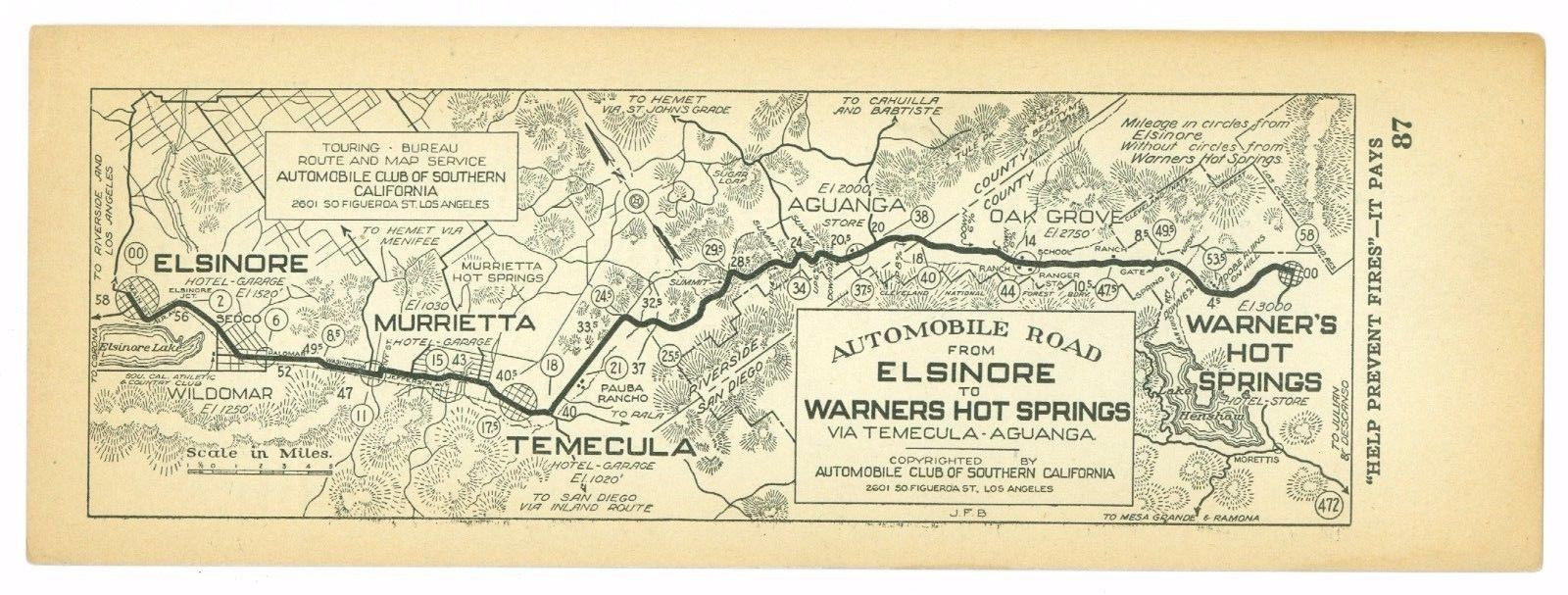 1920s Elsinore to Warners Hot Springs, AAA Automobile Club of Southern Calif Map