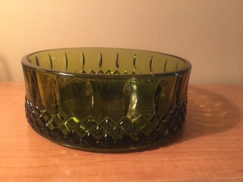 Green Depression Glass Nut Candy Dish Trinket Bowl