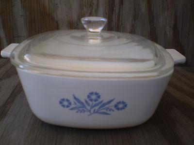 Corning Ware Dishes Cornflower Blue 1 1/2 Quart Casserole W/ Clear Glass Lid