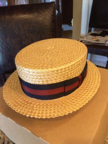 Vtg Lee Fifth Ave New York Straw Boater Hat Sz 7 1/2 Clean Black &Red Band