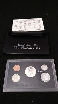 1998 United states Mint SILVER Proof Set - 5 coins total, with box and COA
