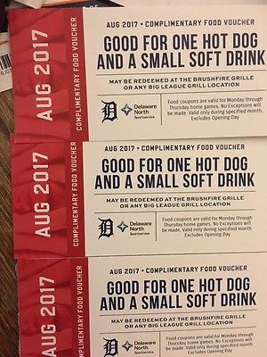 3 Aug 2017 Comerica Park food vouchers- Good  Weeekday Detroit Tiger Home Game