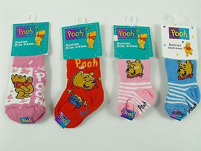 4 Pairs Winnie-the-Pooh Baby Booties Socks size 0-6 Months Pink Red Blue New WT!