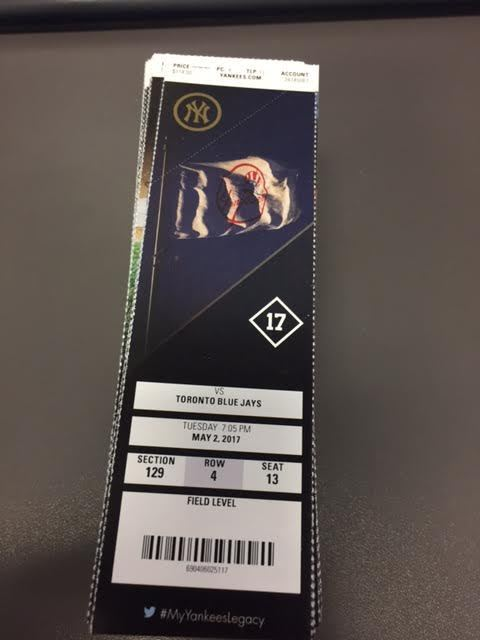 Judge 2 HR - New York Yankees Blue Jays MINT Season Ticket 5/2/17 2017 MLB Stub