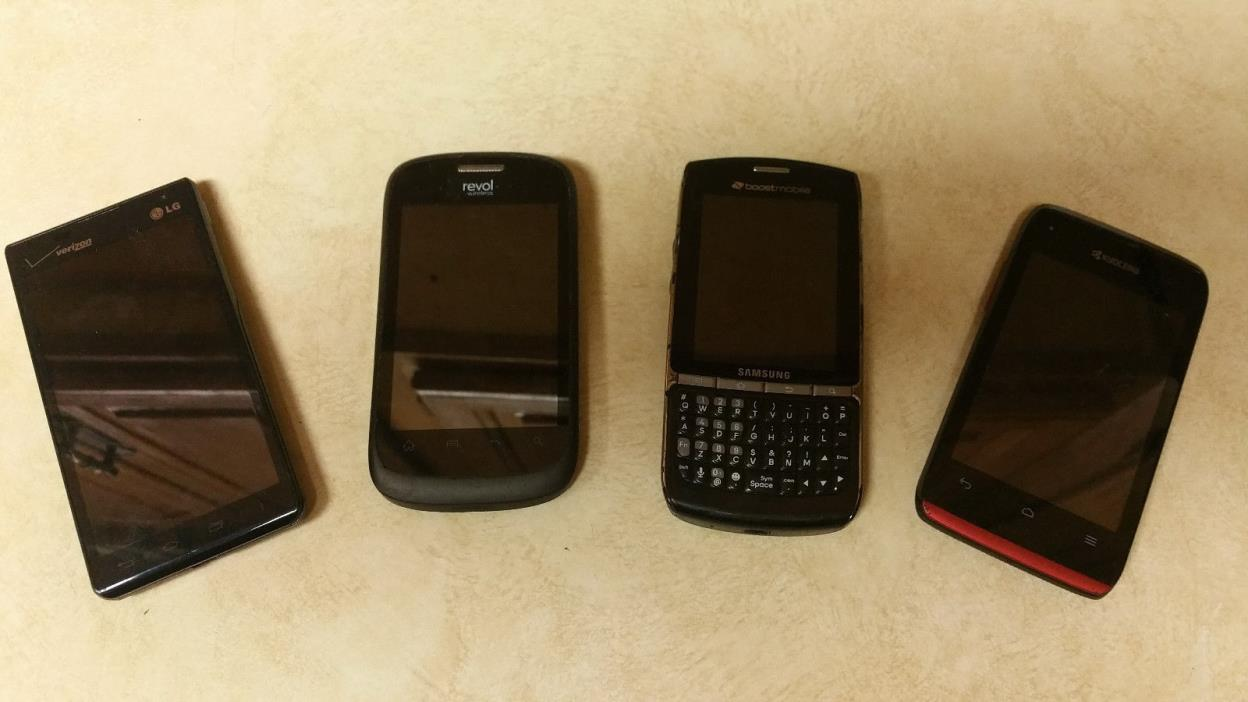 Wholesale Lot of 4 cellphones -slide, flip, bar, UNTESTED! REPAIR / PARTS ONLY