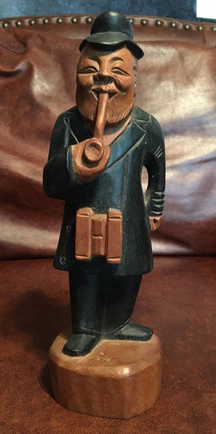 Vintage Hand Carved Wood Figurine Happy Bearded Old Man with Hat Smoking a Pipe