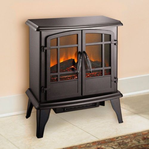 Electric Stove Heater Forced Air Fireplace Portable Black Firebox Home Office