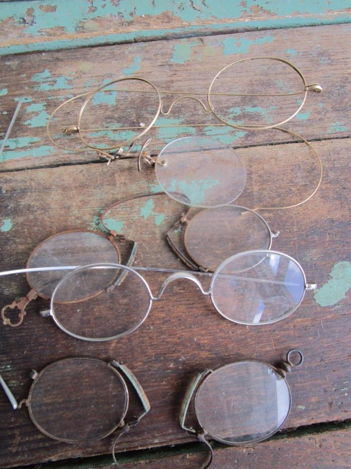 Antique Vintage Lot of 4  Eyeglasses Pince Nez Hairpin