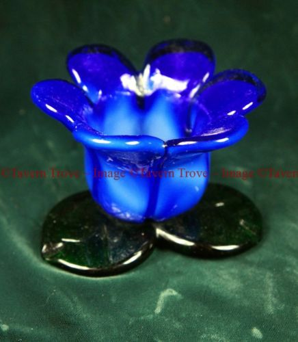 Blue Tulip art glass tea light or votive candle holder Blenko?
