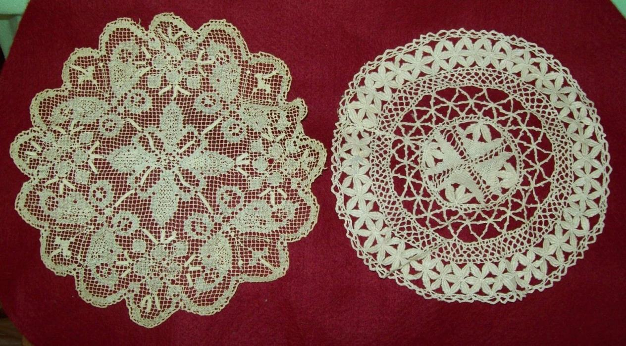 2 Different Antique Vintage Bobbin Lace Doily   STUNNING WORK !  Vintage linen